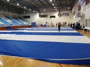 παραλαβή και έλεγχος της σημαιας στο κλειστο γήπεδο Θήρας
